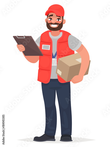 Smiling man courier with a parcel Fototapet