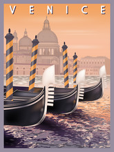 Early Morning In Venice, Italy. Handmade Drawing Vector Illustration. Vintage Style.