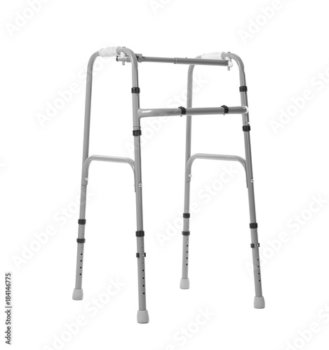 Photo  Metal walking frame on white background