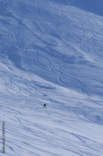 Staande foto Wintersporten Wintersport: Snowboarder, Tiefschnee, Rothorn, Lenzerheide