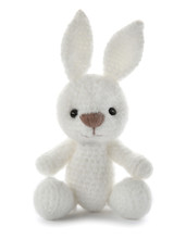 Cute Knitted Toy Bunny On Whit...