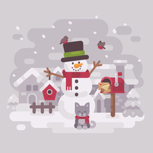 Happy Snowman In A Hat And Sca...