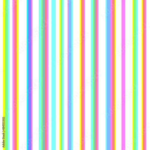 Cotton fabric Seamless striped pattern with chromatic aberration effect. CMYK stereoscopic halftone vector. Stereo effect background. Abstract displacement cyan, magenta, yellow typographic color stripes.