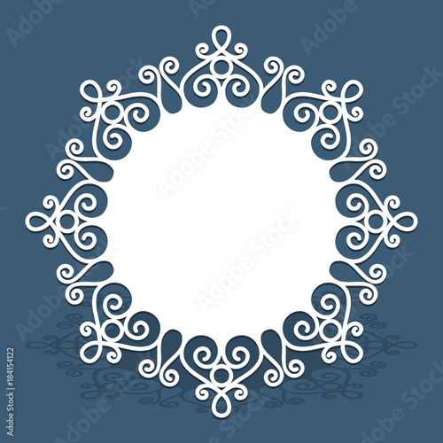 Valokuva  Circle doily with cutout lace border pattern