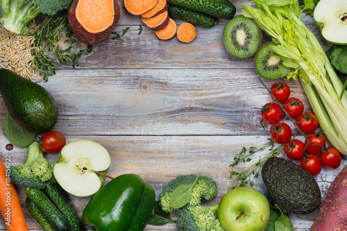 Photo Assortment of alkaline food on wooden background