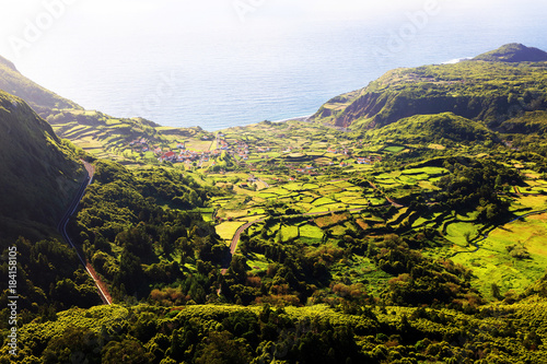 Spoed Foto op Canvas Grijze traf. Landscape on Flores Island, Azores, Portugal, Europe