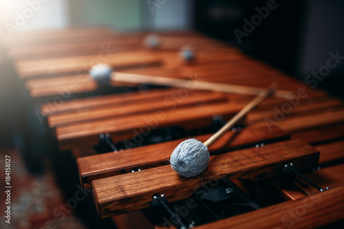 Xylophone closeup, wooden percussion instrument - 184158127