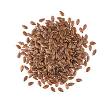 Pile Of Flax Seeds Isolated On...