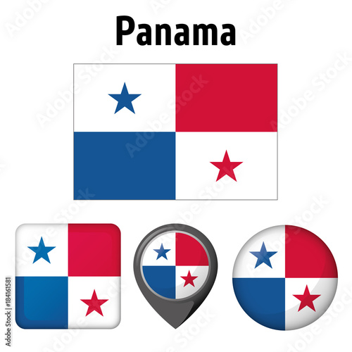 Fotomural  Illustration Flag of Panama, and various icons