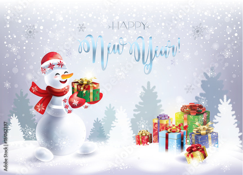 Christmas Snowman With Christmas Presents Holiday Greeting Cards