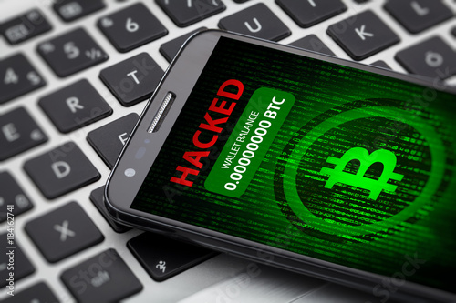 Fototapety, obrazy: bitcoin wallet hacked message on smart phone screen. cryptocurrency theft concept