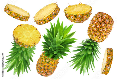 Pineapple collection. Whole and sliced pineapple isolated on white background