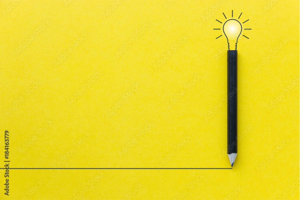 Fototapety, obrazy: Black pencil on yellow backgroud with light bulb illustration line and copyspace for Inspiration and Creative concept
