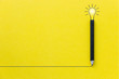 Leinwanddruck Bild - Black pencil on yellow backgroud with light bulb illustration line and copyspace for Inspiration and Creative concept