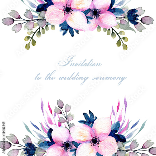 greeting floral card template with watercolor pink and blue