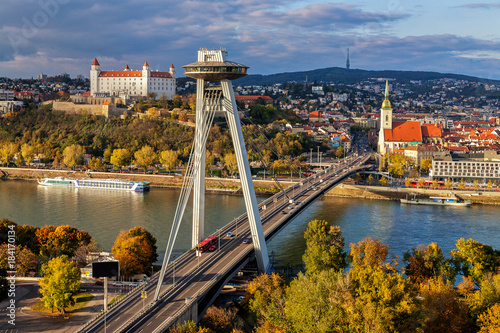 Top view of Bratislava, capital of Slovakia Wallpaper Mural