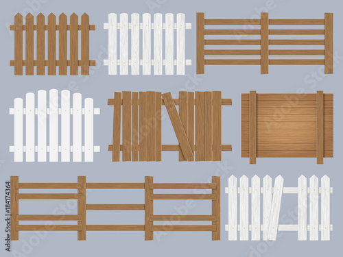 Vector set of wooden fence different forms and color Poster Mural XXL