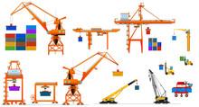 Harbor Cargo Cranes Set, Isola...
