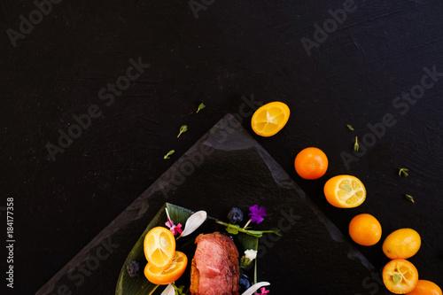 exotic thailand food composition dark background concept. free space. kitchen art.
