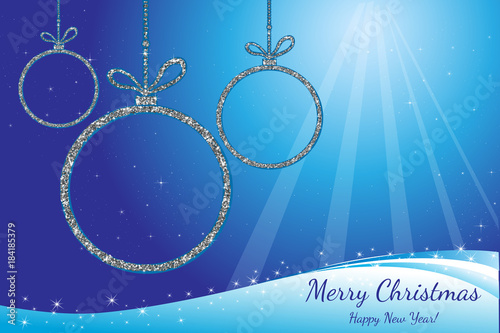 merry christmas and happy new year silver glittering balls holiday background decorative design