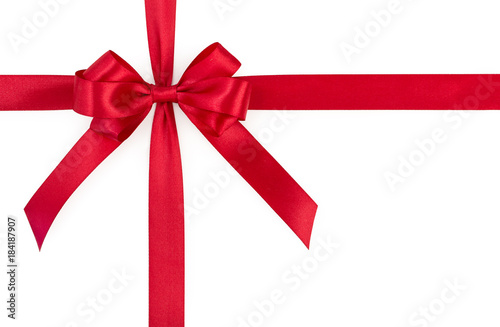 Red satin gift ribbon bow isolated on white background top view red satin gift ribbon bow isolated on white background top view negle Choice Image