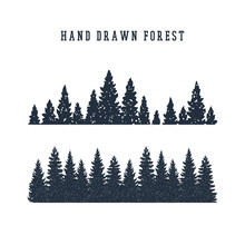 Hand Drawn Pine Forest Texture...