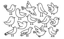 Set Of Cute Cartoon Birds Isol...