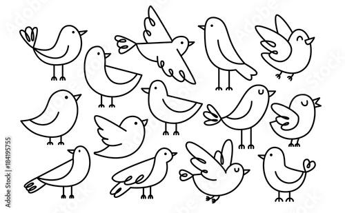 Zestaw ptaków Cute Cartoon Samodzielnie Na Białym Tle