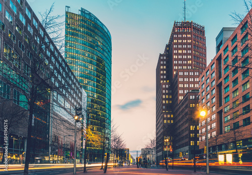 Fotografie, Obraz  street at potsdamer platz in the night with lens flares from driving cars