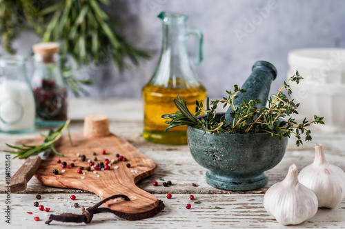 Herbs and Spices, Mortar and Pestle