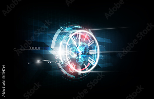 Obraz na płótnie Abstract Futuristic Technology Background with Clock concept and Time Machine, v