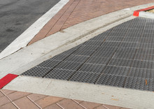Brick Crosswalk With Gray Tact...