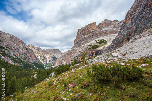 View of wild Travenanzes valley with Vallon Bianco and Nemesis Mounts background Wallpaper Mural
