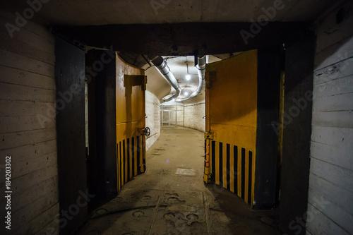 Photo  Big massive hermetic metal armored door of soviet military bunker