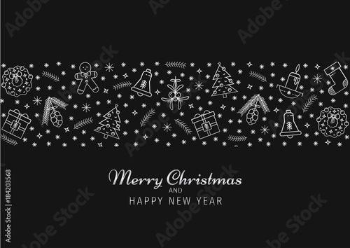 christmas and happy new year horizontal background greeting invitation card template with line symbols