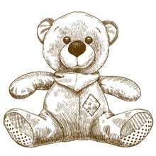 Engraving Illustration Of Teddy Bear Toy