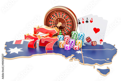 Casino and gambling industry in the Australia concept, 3D rendering плакат