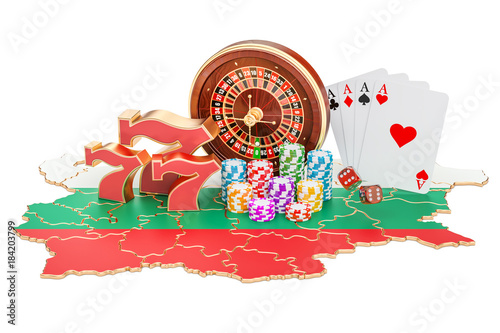 Poster  Casino and gambling industry in the Bulgaria concept, 3D rendering