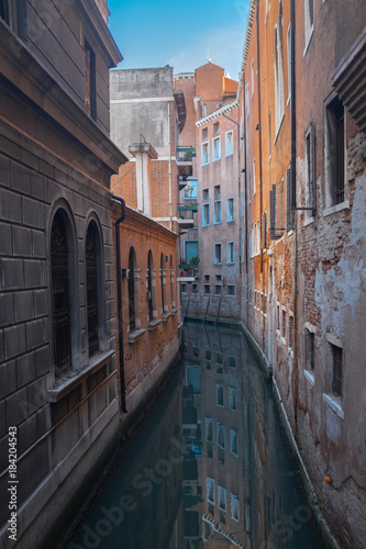 Canals of Venice, Italy. Romantic travel photo background © Severria