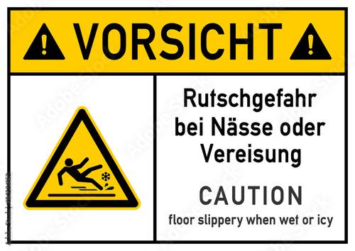 Fotografia  ks258 Kombi-Schild - deutsch: Gefahrenzeichen: Vorsicht - Rutschgefahr bei Nässe