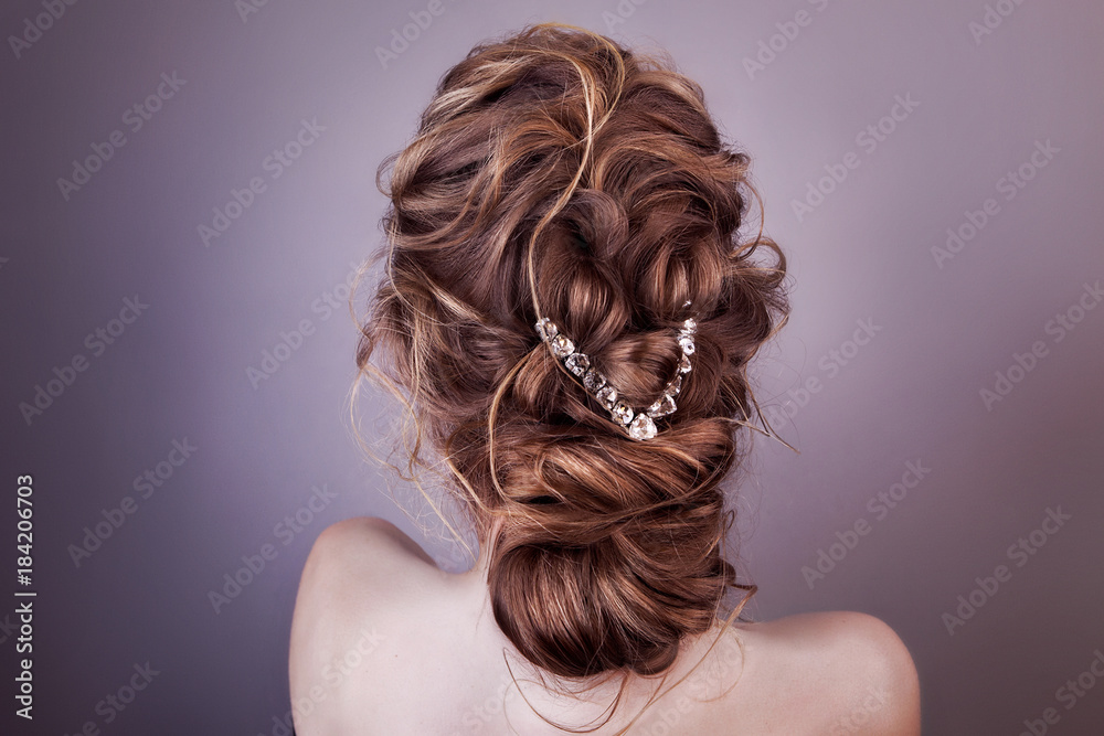 Fototapeta Model blonde Woman with perfect hairstyle and creative hair-dress, back view.