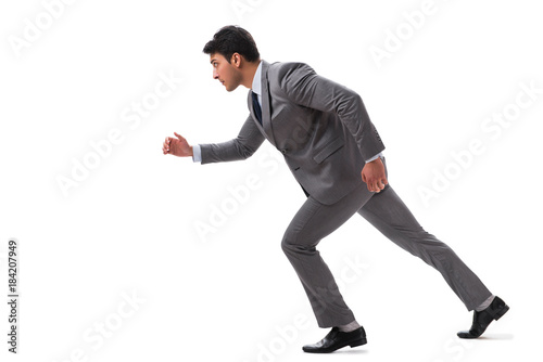 In de dag Art Studio Young businessman running forward isolated on white