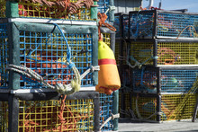 Colorful Lobster Traps On Wood...