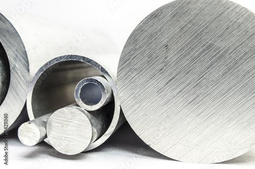 Fotografie, Obraz  Metal pipelines profile on white background