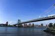 Brooklyn Bridge from Brooklyn side. Manhattan skyline view from Brooklyn.