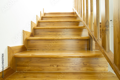Foto op Canvas Trappen Modern style wooden stairs, Interior design.