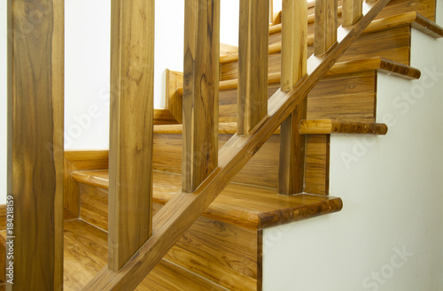 Photo sur Toile Escalier Modern style wooden stairs, Interior design.