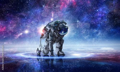 Astronaut starting to run. Mixed media Wallpaper Mural