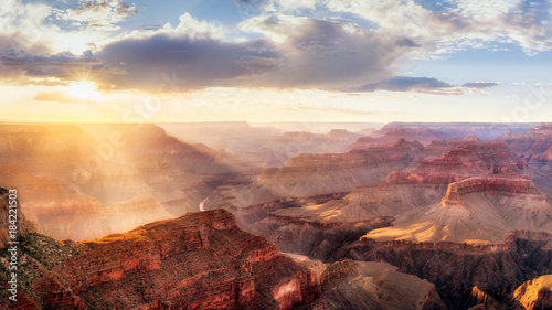 Fototapety, obrazy: Grand Canyon Sunset from Hopi Point during summer monsoon