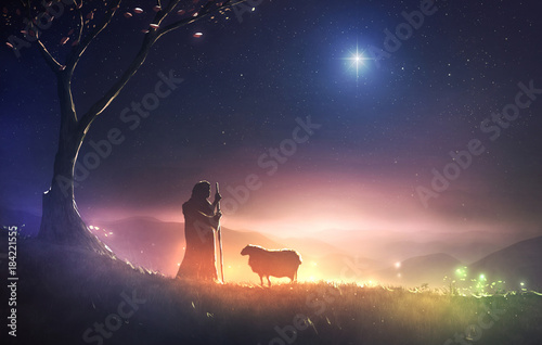 Canvas Print Shepherd and star of Bethlehem